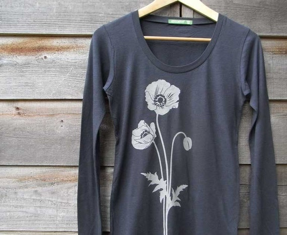 Organic Womens T shirt with Poppies - Gray Scoop Neck - S M L XL