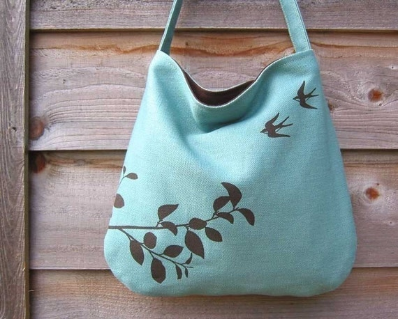 Hemp Bag with Flying Swallows with Organic Cotton Lining - Turquoise Blue