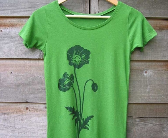 Organic Cotton T-shirt with Poppies - Women's Scoop Neck Kelly Green