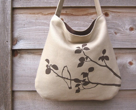 SALE 30% OFF - Hemp Bag with Songbird Organic Cotton Lining - Natural Beige Taupe