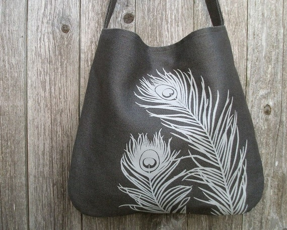 Hemp Bag with Peacock Feathers Organic Cotton Lining - Charcoal Grey