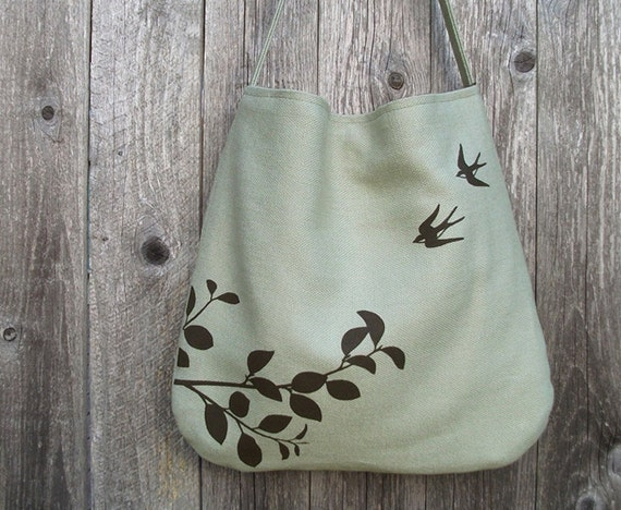 Hemp Bag with Flying Swallows Organic Cotton Linging - Light Green, Bamboo, Sage