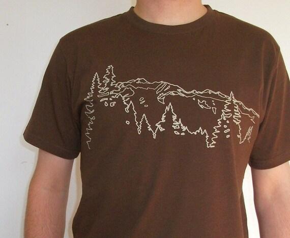 Organic Cotton T-shirt with Mountain Ridge - Men's Brown