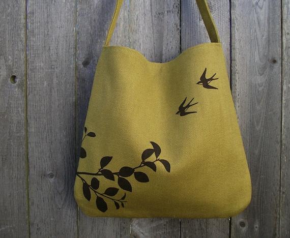 Eco-friendly Hemp Bag with Flying Swallows Organic Cotton Linging - Deep Golden Mustard