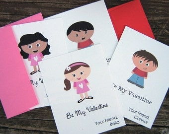 PRINTED Valentines Customizable Kidlets Large Printed Cards