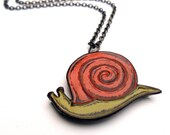 Snail Necklace, Retro Orange and Green Snail, Woodland Animal Jewelry, Cute Animal Necklace, Teen Gift, Birthday Gift, Gift for Her