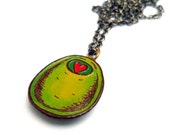 Olive You Necklace, Green Olive with Red Heart Pimento