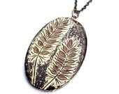 Cream and Brown Wheat Necklace - Harvest