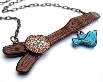 Tree branch with Mother Blue Bird and Nest with Eggs Necklace - Out on A Limb Series- Motherhood
