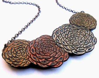Metallic Copper, Silver and Copper Chrysanthemum Necklace, Flower Pendant, Mum Necklace, Floral Bib Necklace, Wife Gift, Mom Gift