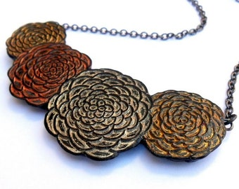 Metallic Gold, Silver and Bronze Chrysanthemum Necklace - Serenity