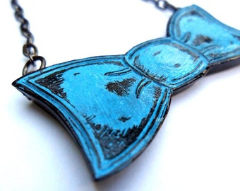 Blue Bowtie Necklace - Tie One On