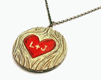 Personalized  Necklace, Custom Couple Initials Necklace, Woodgrain Red Heart, Custom Necklace, Bride Gift, Anniversary Gift