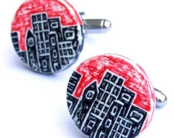 Red, Black and White Urban City Skyline Cufflinks - City Life