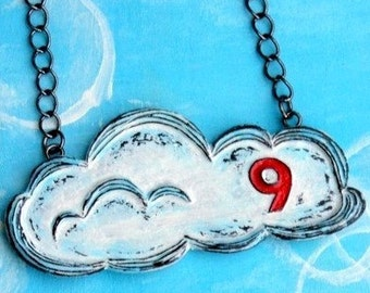 Cloud 9 Necklace. Cloud Necklace. Cloud Pendant. Red, White and Blue Necklace