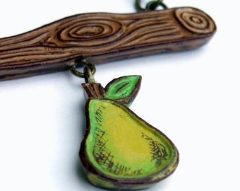 Green Pear Necklace, Tree Branch Necklace, Faux Bois Jewelry, Woodgrain Necklace, Fruit Necklace, Gift for Mom, Wife Gift, Pear Pendant