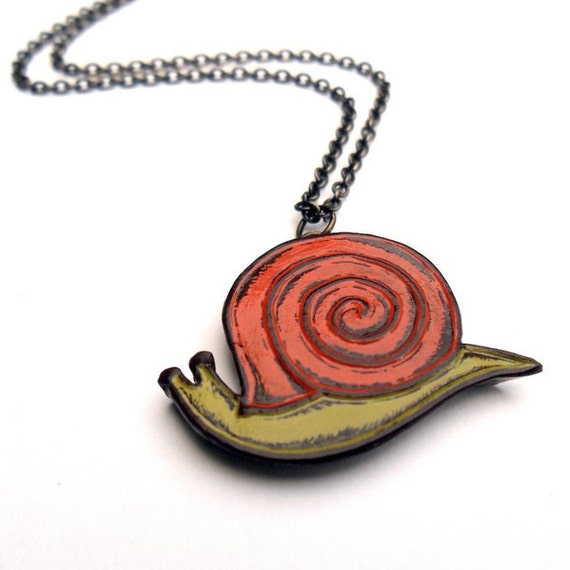 Snail Necklace - Slow Down - Retro Orange and Green