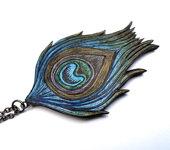 Metallic Blue, Green and Purple Peacock Feather Necklace - Strut your Stuff