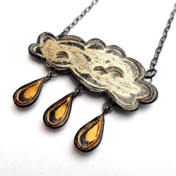 Rain Cloud Necklace, Raindrop Necklace, Metallic Gold and Silver Cloud Necklace, Cloud Jewelry, Gold Raindrop Necklace, Storm Necklace