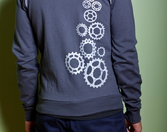 Bicycle Cog Track Jacket- Sreenprint, Charcoal Gray, Fleece, Zip Up, Sweatshirt, Cycling