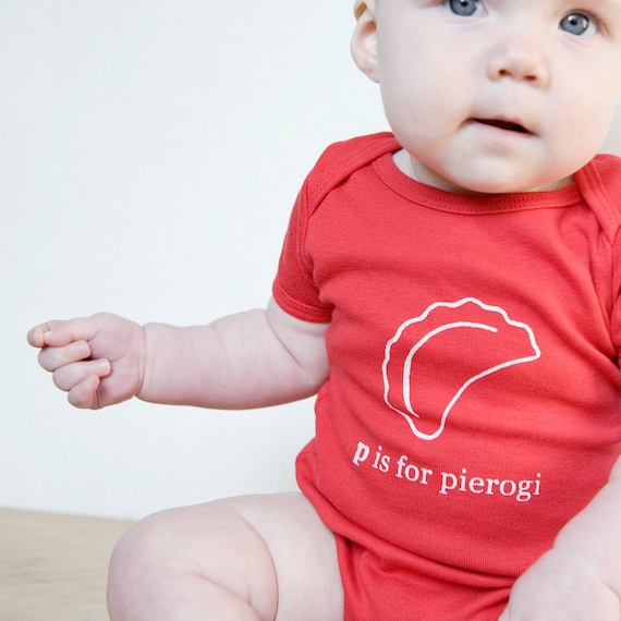 P is for Pierogi Baby One piece Bodysuit Red or by garbella