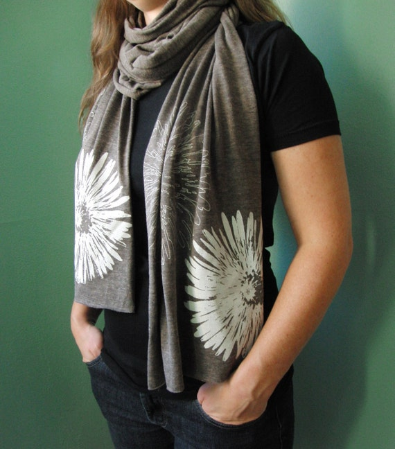 Chrysanthemum Flower on Heather Brown, Tri-Coffee, Extra-long, Jersey Scarf- Screenprint