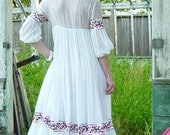 RESERVED for Lissette. joseph magnin angelic bohemian white maxi dress with embroidered ribbon size small