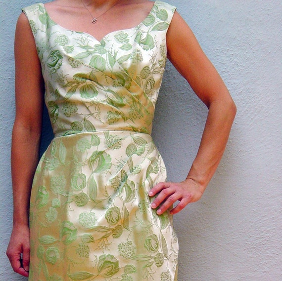 vintage brocade wiggle cocktail dress with moonglow earrings
