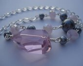 RESERVE FOR MEGAN Pretty in Pink --- Pink and Grey Czech Glass and Pearl Necklace