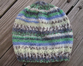 Self-Striping Hand-Knitted Baby Hat (newborn to six months)