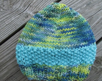 Aqua Baby Hand-Knitted Merino Wool Baby / Toddler Hat -- choose your size -- made to order
