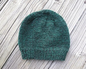 Forest Green Hand-Knitted Baby Hat (six to twelve months)