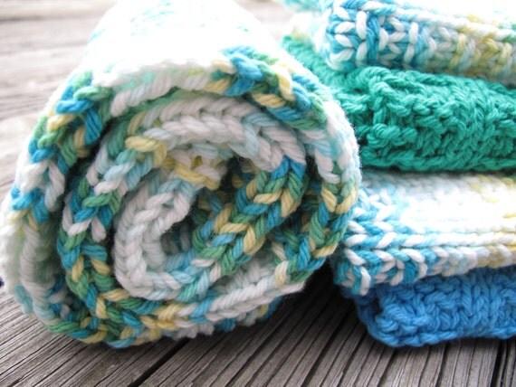 Baby Burp Cloth / Wash Cloth Set / Hand Knitted / Cotton / Splash