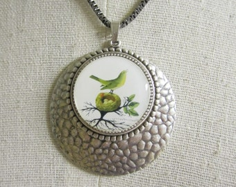 Pendant Necklace , Bird Pendant Art Jewelry , One of a Kind Necklace , Hammered Silver Jewelry