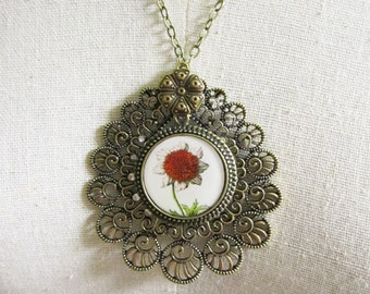 Flower Necklace  , Pendant Necklace , Mixed Media Jewelry , Whimsical Jewelry