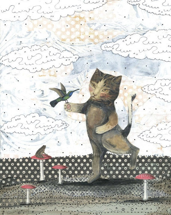 """Clearance! 8x10"""" Art Print , That Cat Was a Genius Hummingbird Catcher , Mixed Media Collage Reproduction Print"""