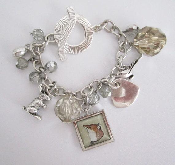 Fox Charm Bracelet , Animal Jewelry , Mixed Media Jewelry , Collage Art Jewelry , Woodland Art