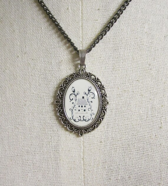 Pendant Necklace , Folk Art Jewelry , Mixed Media Jewelry