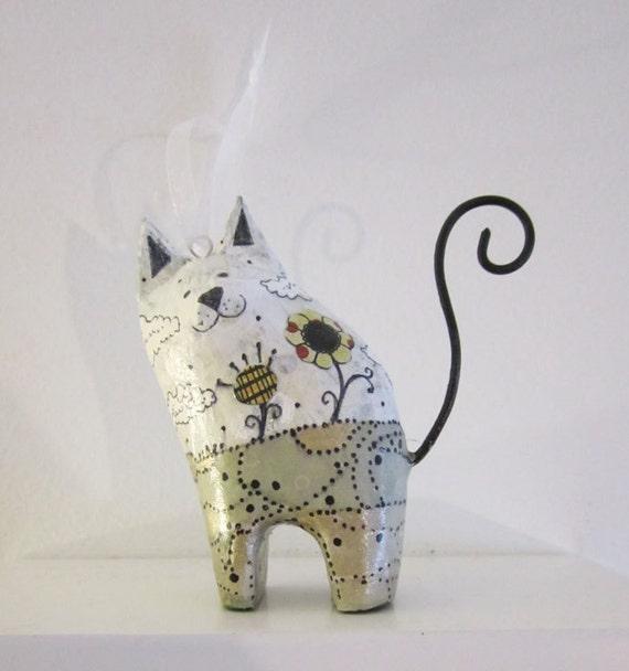 Cat Ornament - Mixed Media Original Ornament