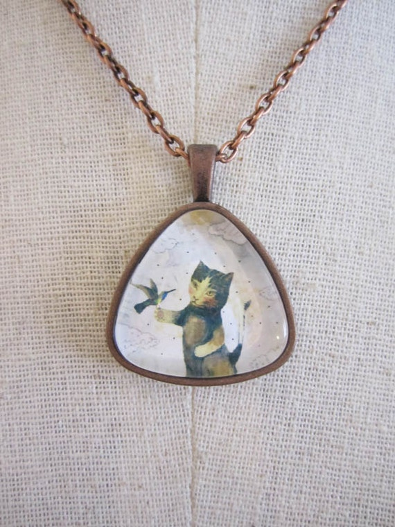 Cat Pendant Necklace in Copper , Collage Art Jewelry , Mixed Media Jewelry