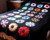 Queen Multi Color Dresden Plate Applique on Black Quilt
