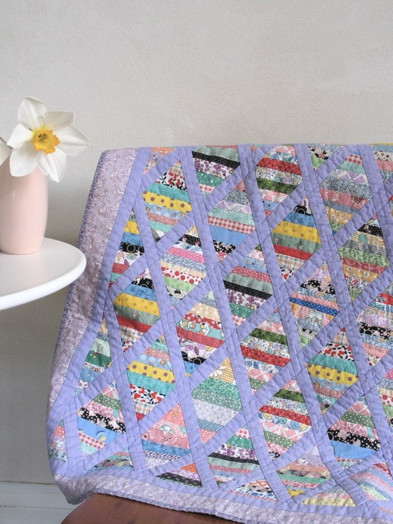 Vintage Small Patchwork and Lavender Applique Quilt Cotton Prints for Baby or Doll