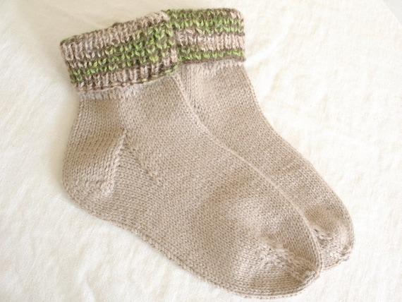 Handknit Socks Oatmeal Alpaca Wool Silk Blend Handpainted Alpaca Cuff