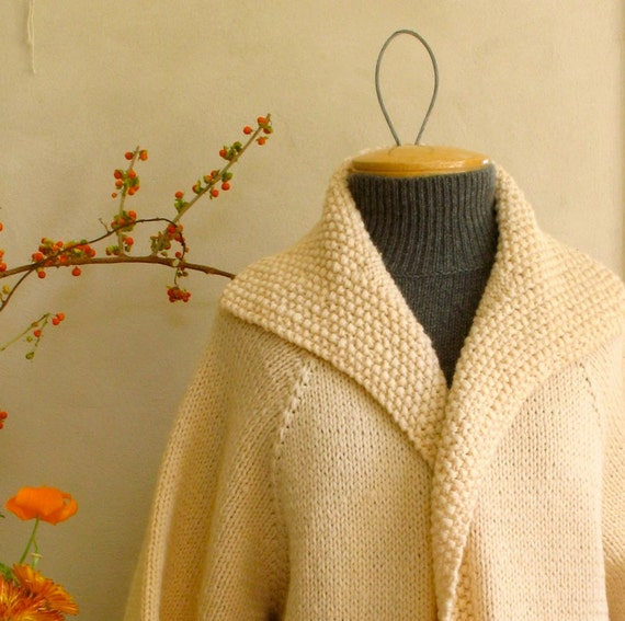 Vintage Sweater Coat Cream Wool Hand Knit Super Thick Styling