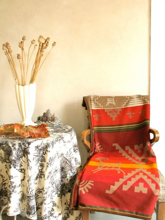 Pendleton Wool Blanket Native American Petroglyph Design In