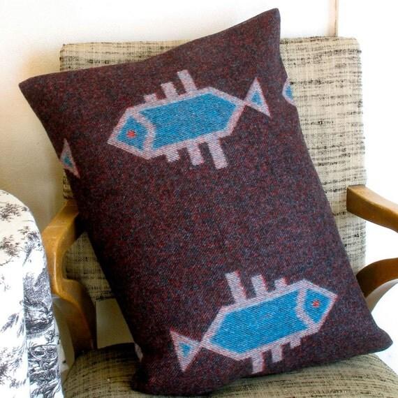 Pendleton Wool Pillow / Fish Design Blue & Dark Purple / Home Decor Pillowcase Only