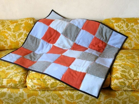 Cashmere Baby Blanket Patchwork Quilt Blue Rust Brown Cotton Flannel