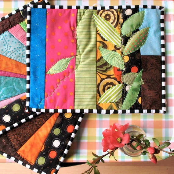 Quilted Wall Art and Pot Holder Kitchen Set of 3 Bright Colors Leaves Fans