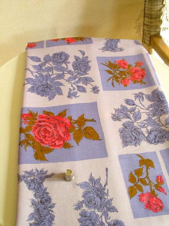 Vintage Fabric Cotton Print Purple Roses & Squares 4 Yards