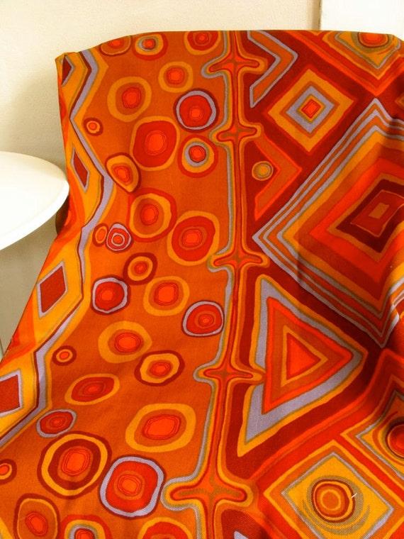 Decorator Weight Fabric Cotton Canvas Modern Graphic Style Red Rust Orange